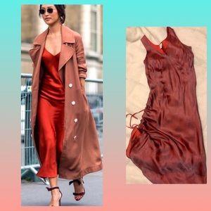 Vintage 90's 100% Silk slip dress in red size M
